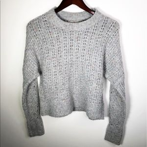 Chelsea & Violet Open Knit Gray Sweater Small